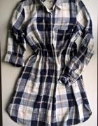 Nowa sukienka w kratę M L bawełna wiskoza...