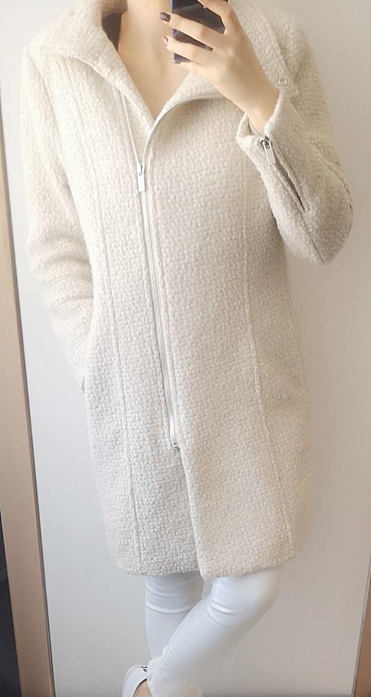 Odzież wierzchnia H&M Płaszcz wełniany damski beż 42 XL