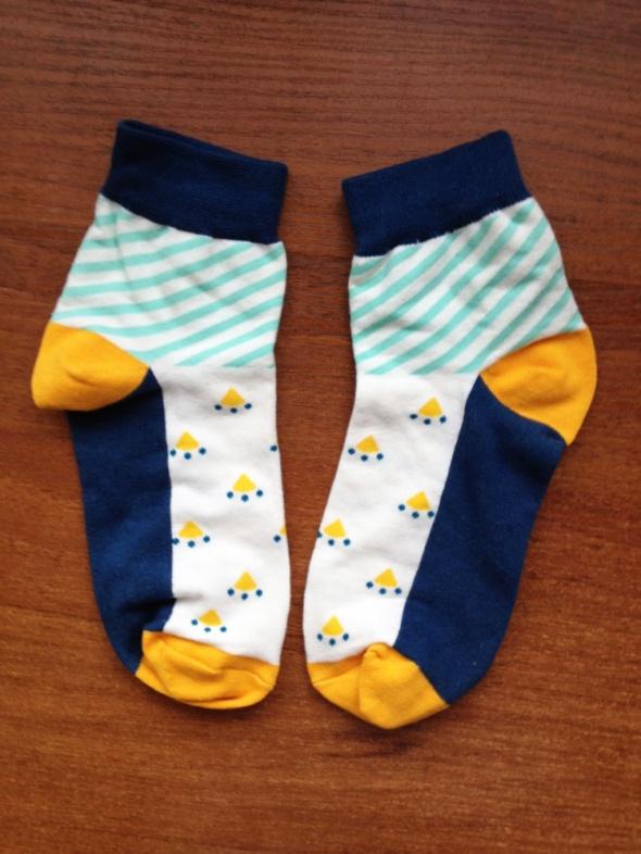Skarpetki That Sock kolorowe krótkie raz użyte nowe niebieskie żółte blogerskie blogerek hipster