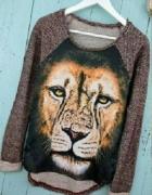 Świetny asymetryczny sweter tygrys S...