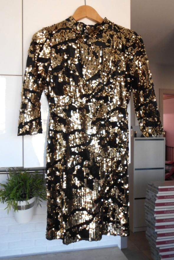 Zara nowa cekinowa złota sukienka elegancka...