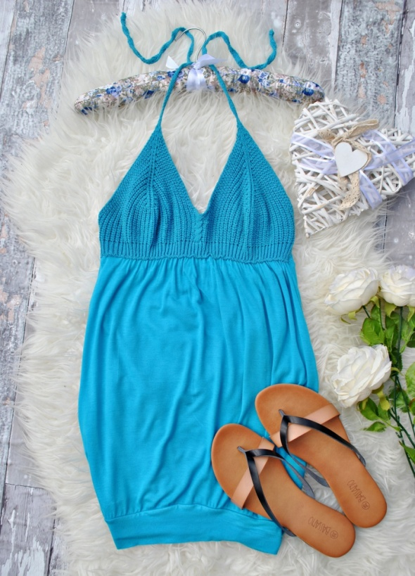 Włoska Italy Bluzka Top Sukienka Szydełkowa Niebieska Lazurowa Wiązana Na Szyi Plażowa Hippie Boho