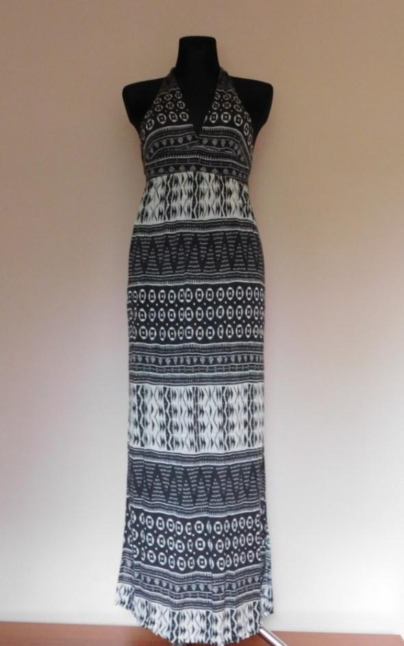 Forever 21 długa sukienka czarna biała 36 38...