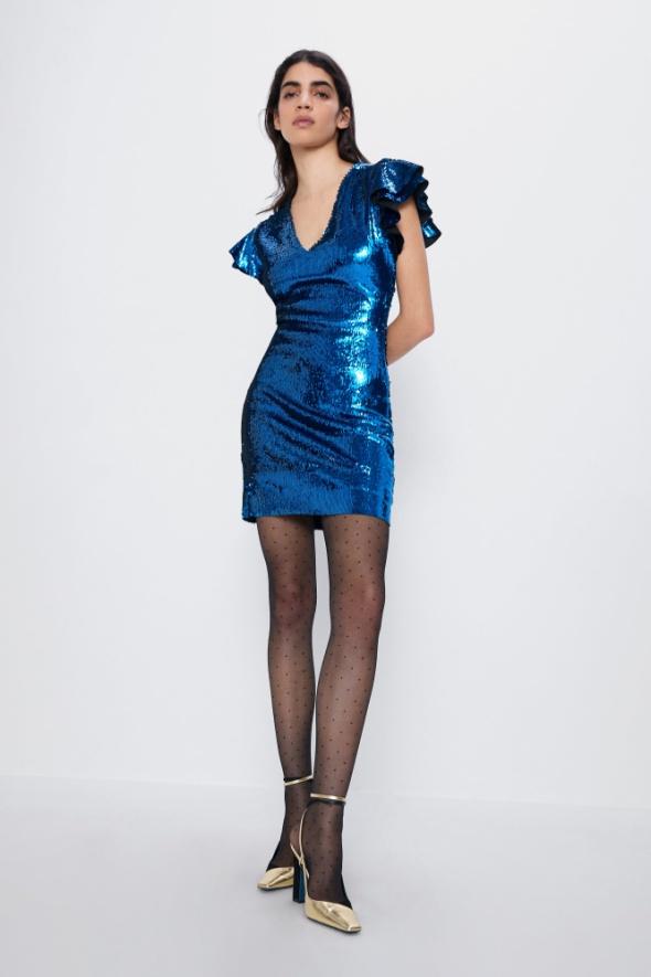 ZARA sukienka cekinowa mini niebieska 36 S nowa...
