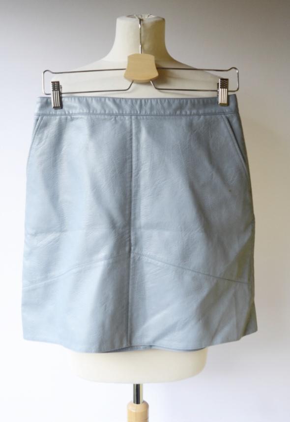 Spódnice Spódniczka Zara Basic M 38 Niebieska Skórzana Eko Skóra