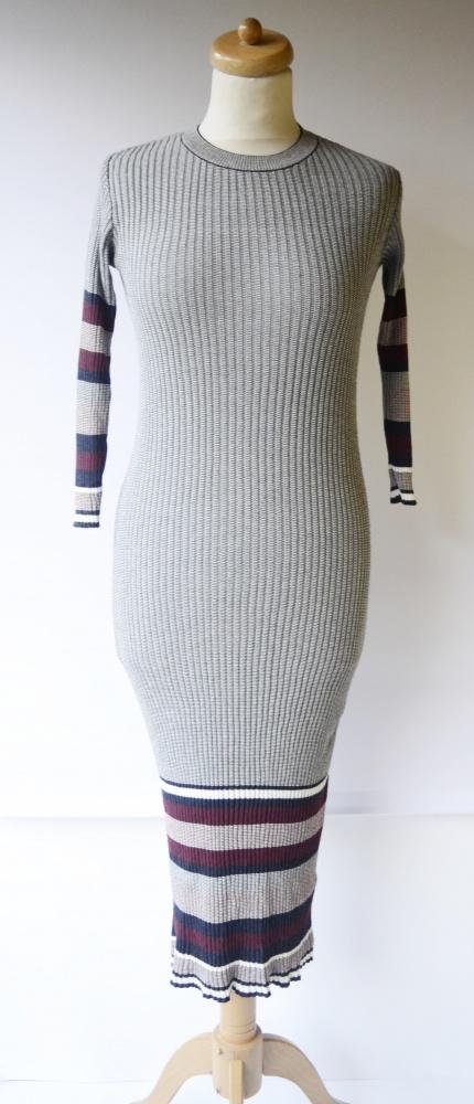 Sukienka Szara Lampasy Gina Tricot S 36 Dzianinowa Long Prażki