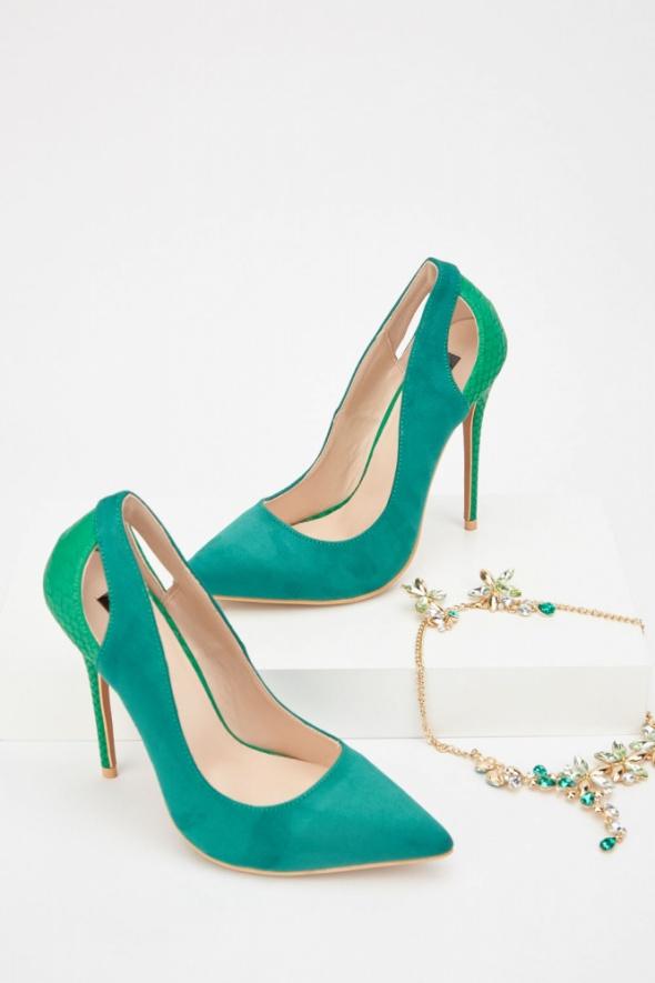 Nowe buty szpilki Lost Ink 40 zielone zamszowe zieleń obcasy wysokie