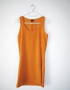 Pomarańczowa prosta sukienka miodowa basic mini...