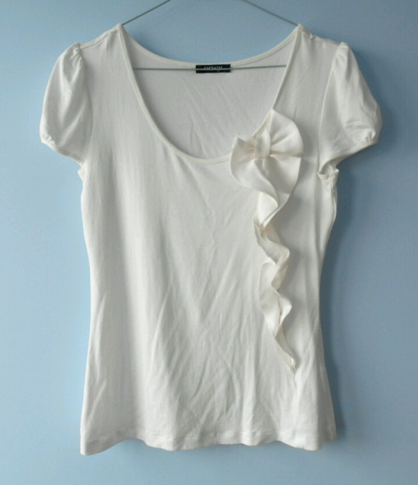Orsay bluzka koszulka z kokardą kremowa