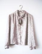 Satynowa beżowa koszula bluzka w panterkę vintage retro...