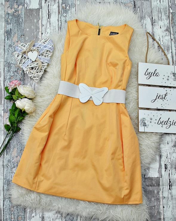 Sukienka Tulipan Bombka Pastelowa Kanarkowy Żółty Zip Zamek Koktajlowa Wizytowa Glam Retro Pin Up M