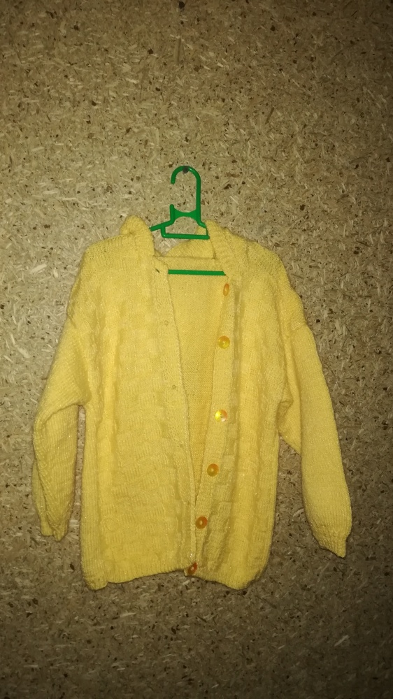 Pozostałe Żółty rozpinany sweter z kapturem 122 cm