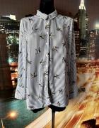 new look koszula modny wzór ptaki paski casual hit 42...