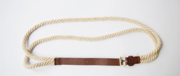 Pasek Sznurek Brązowy Kremowy 86 cm Złote Elementy