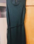zielona butelkowa sukienka z koronką...