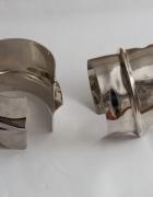 Metalowe srebrne bransolety branzoletki duże...