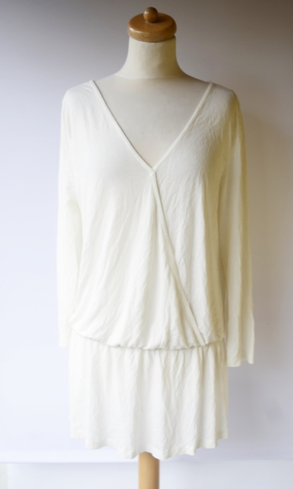 Sukienka Biała Cubus XL 42 Falbanka Baskinka Elegancka