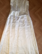 Suknia ślubna 42 prosta perłowy atłas haft koraliki cekiny...