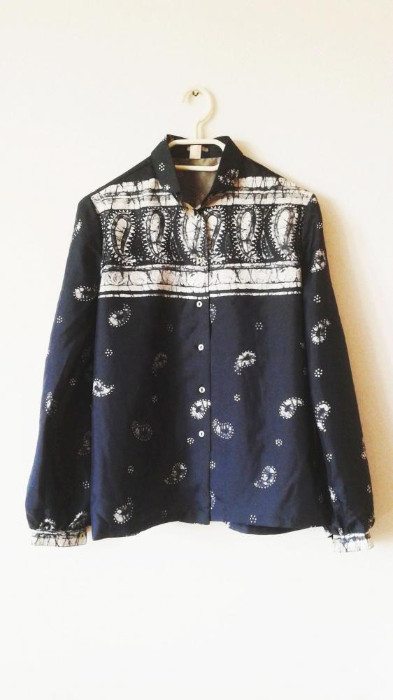 Biało granatowa koszula vintage na guziki retro