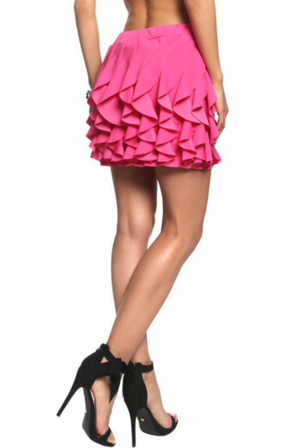 Spódnice spódniczka falbanki Hot PINK różowa mini 36 S