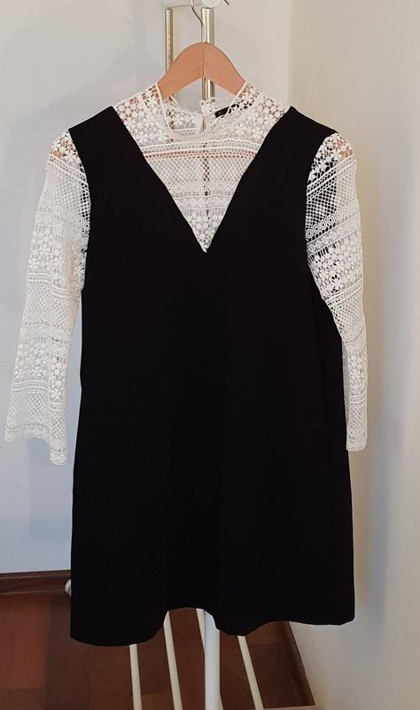 Czarna sukienka z koronką ZARA 36 S...