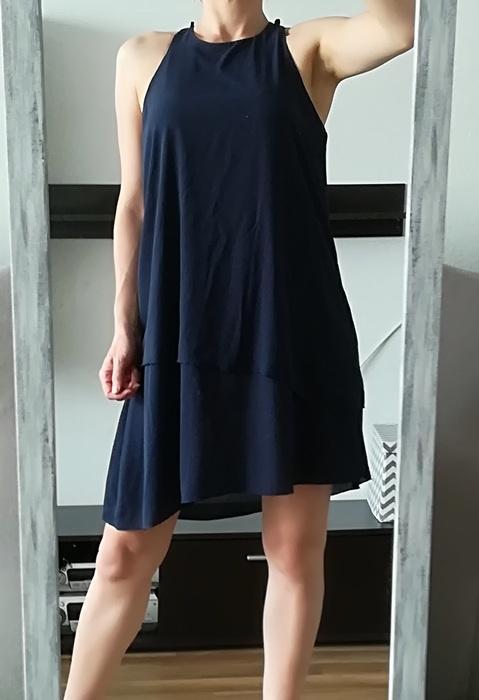 ATMOSPHERE granatowa asymetryczna sukienka M