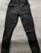 ZARA czarne spodnie cygaretki materiałowe ze ściągaczami elegan...