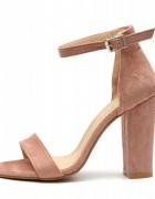 Różowe sandałki na słupku 39