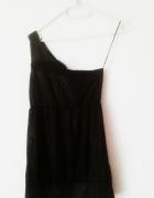 NOWA czarna brokatowa sukienka na jedno ramię mini z kokardą Te...