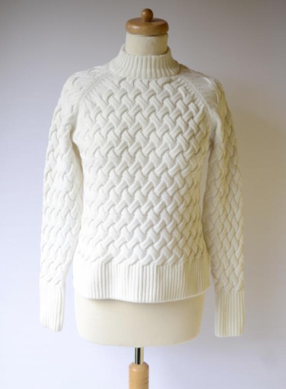 Sweter Cubus Biały Pleciony S 36 Golf Biel Sweterek