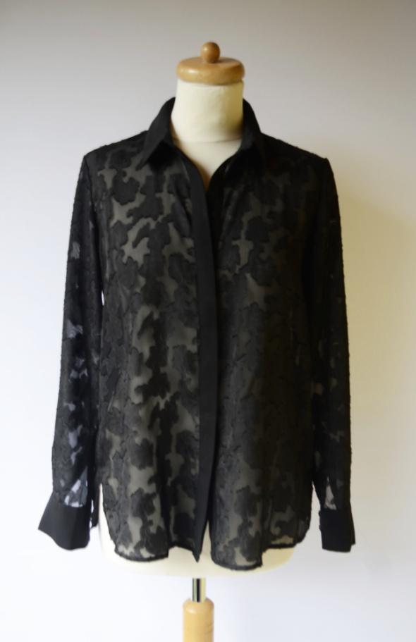 Koszula Czarna H&M M 38 Mgiełka Wzory Tłoczone Elegancka...