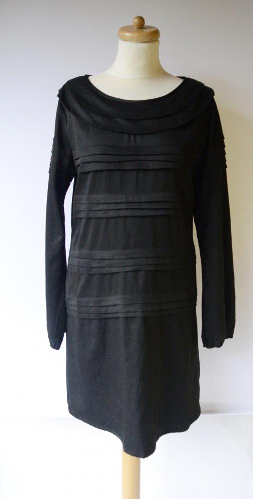 Sukienka Czarna Elegancka Vila L 40 Falbanki Wizytowa