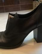 Czarne botki ze skóry Prima Moda...