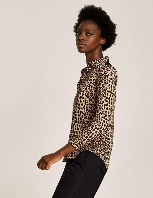 Bluzki Animal Print Zara bluzka w panterkę z koronkowym tyłem 34 XS