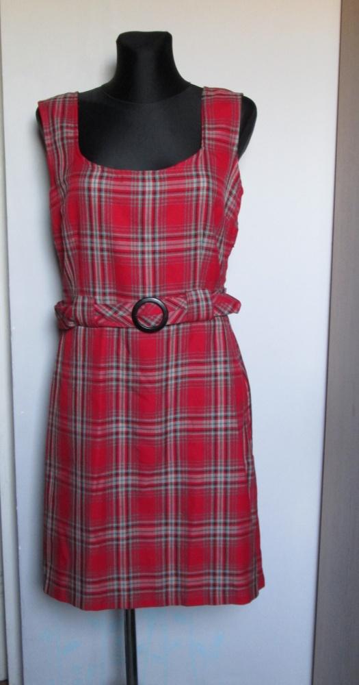 GEORGE śliczzna sukienka w czerwoną kratkę z dodatkiem popielu