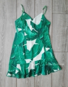 shein romwe sukienka liście tropikalny wzór L 40 falbanki