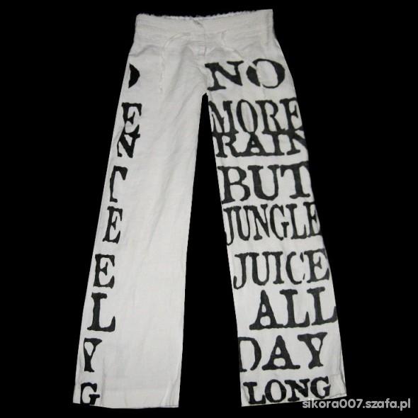 Białe Proste Spodnie Biodrówki LEN S
