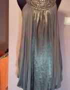 Grafitowo srebrna asymetryczna sukienka motyl z koralikami R 40...