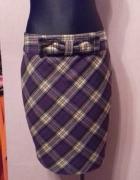Wełniana spódnica mini ołówkowa w kratę odcienie fioletuTed Bak...