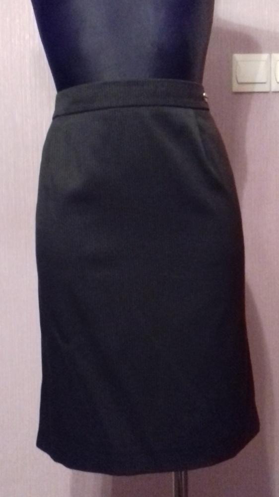 Spódnice Elegancka czarna spódnica w drobne prążki mini ołówkowa M