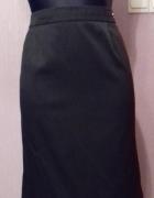 Elegancka czarna spódnica w drobne prążki mini ołówkowa M...