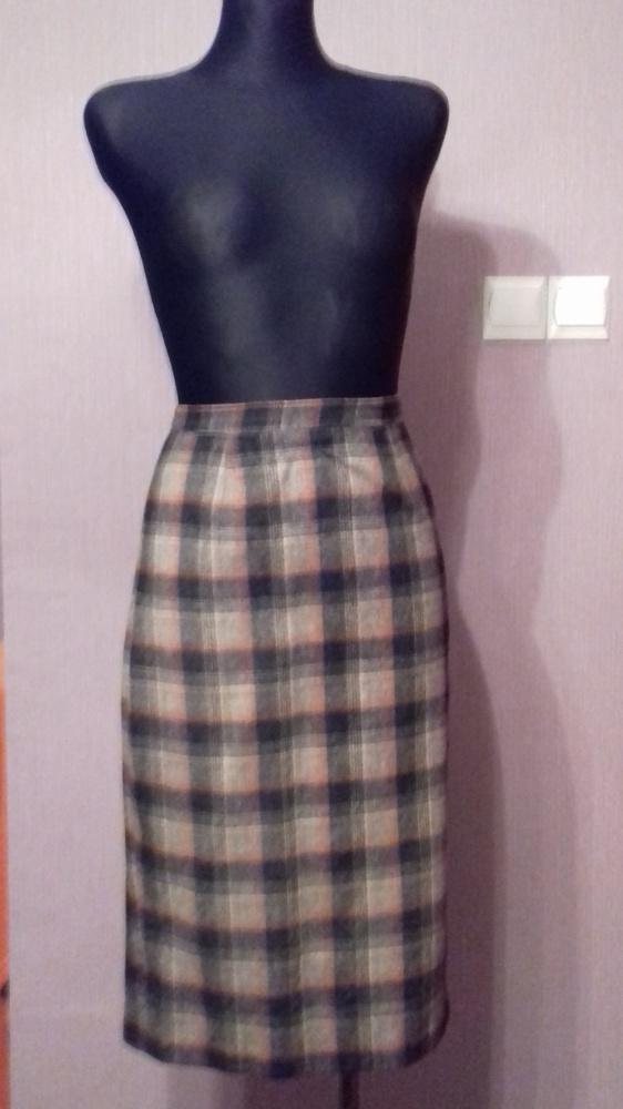 Spódnice Ciepła wełniana spódnica szara w kratę M
