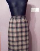 Ciepła wełniana spódnica szara w kratę M
