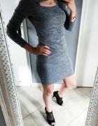Olowkowa sukienka szara melanz wyciecie zara M