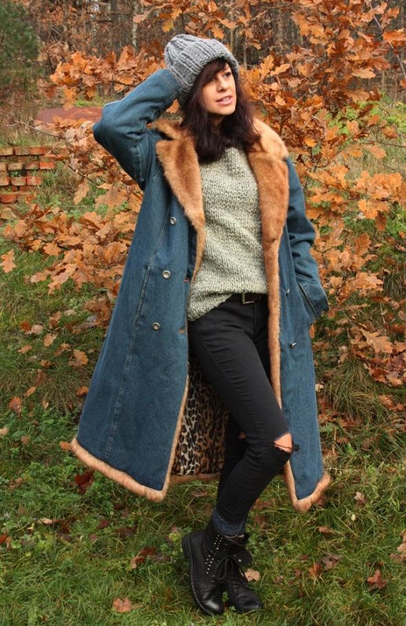 Odzież wierzchnia Jeansowy płaszcz vintage panterka