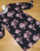 Terranova trapezowa sukienka w kwiaty roz S...