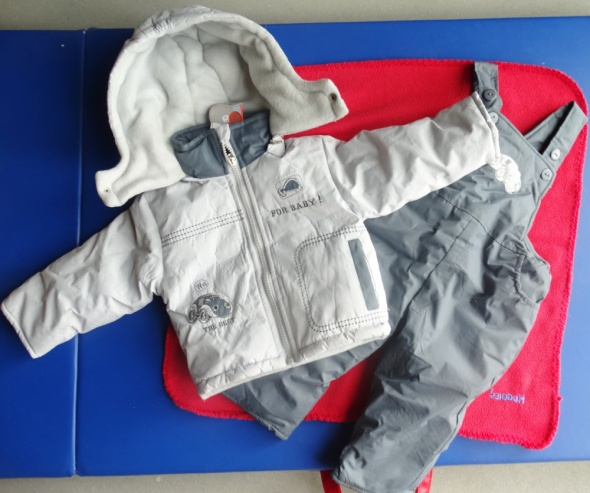 Komplet zimowy spodnie na szelki i kurtka
