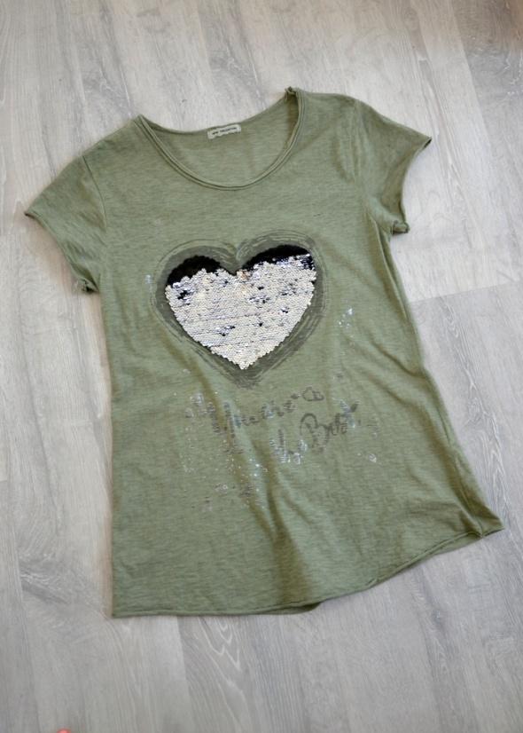 Włoska bluzka khaki serce odwracane cekiny