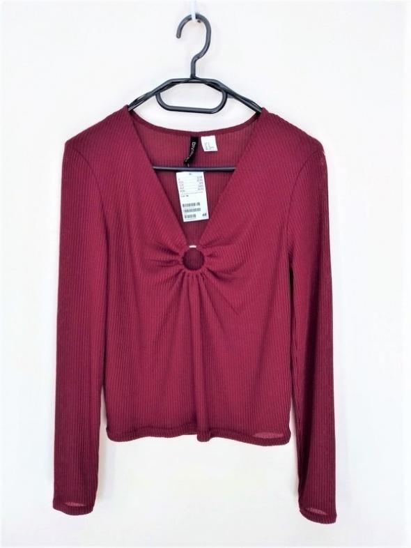 Dzianinowa bluzka burgund dekolt rozmiar M Nowa z metką