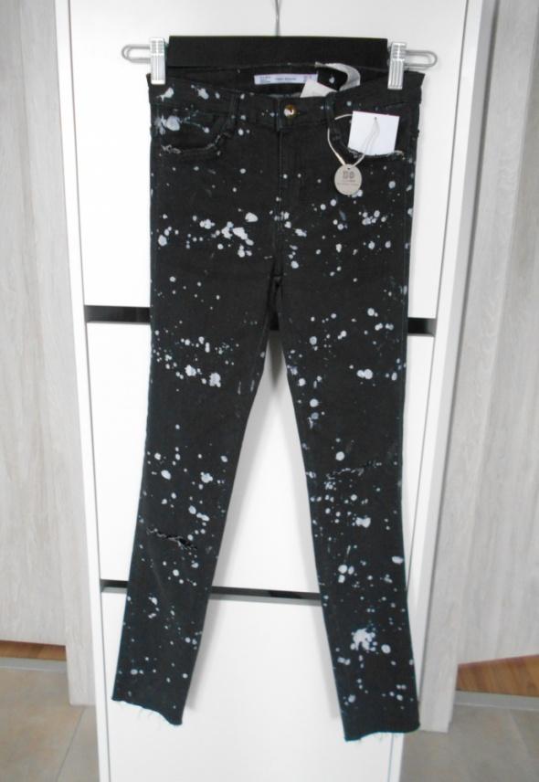 Zara nowe spodnie rurki plamy farby destroyed